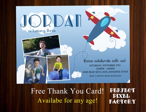 Boy Birthday Invitation Airplane Photo Card Party Plane