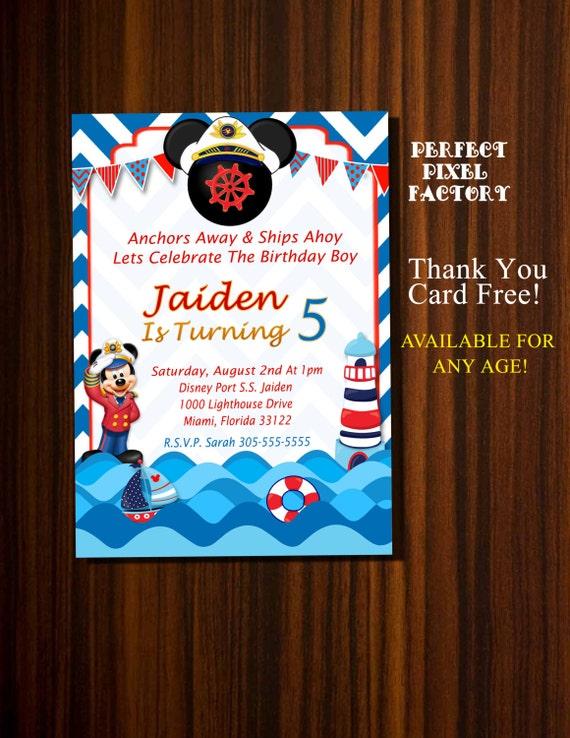 Mickey Mouse Invitation Nautical Birthday