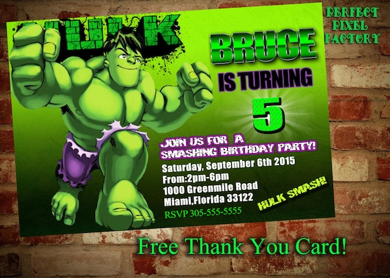 HULK BIRTHDAY INVITATIONavengers SuperheroBruceHulkMarvel