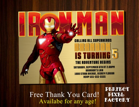 IRON MAN INVITATION Superhero Avengers Tony Stark Iron Man Birthday Party Boy BirthdayPrintable Diy Perfect Pixel Factory