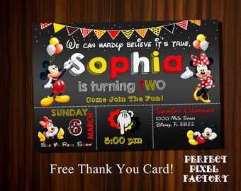 Mickey Mouse Invitations, Mickey and Minnie invitation, Minnie Mouse invitation, Mickey Birthday, Minnie Birthday,Mickey and Minnie Birthday