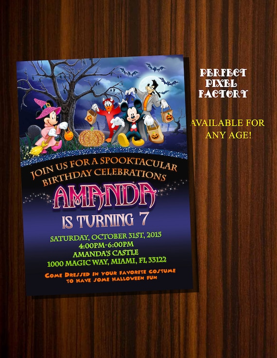 Mickey Halloween Disney Party Invitation Birthday Card Minnie Donald Goofy Spooky