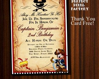 Mickey Mouse invitation, Mickey Pirate invitation, Pirate Mickey, Pirate Invitation, Mickey Mouse Birthday,Pirate Mickey Birthday, Mickey