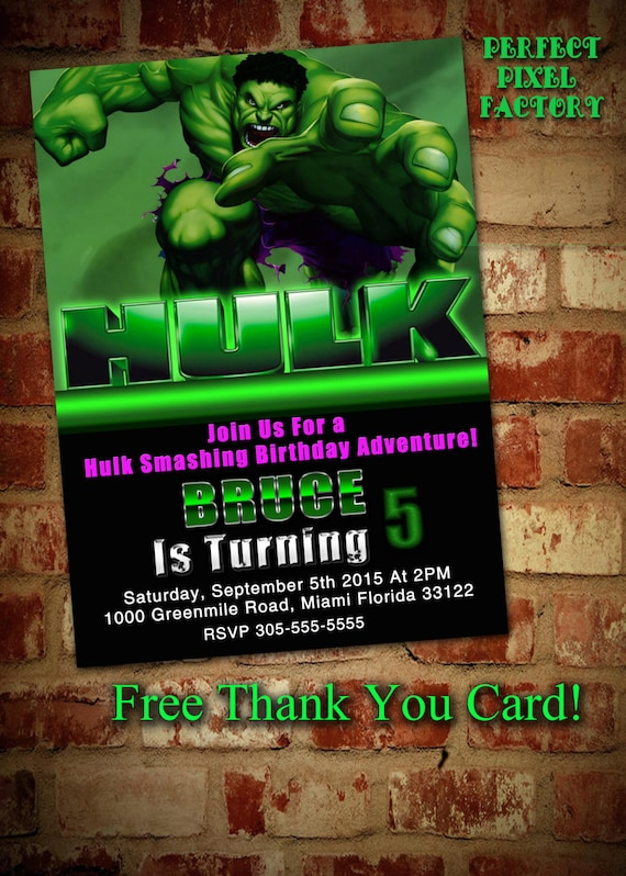 HULK BIRTHDAY INVITATIONAVENGERS SuperheroBruceHulkMarvel SuperheroBirthday PartyBoy BirthdayPrintablediyPerfect Pixel Factory