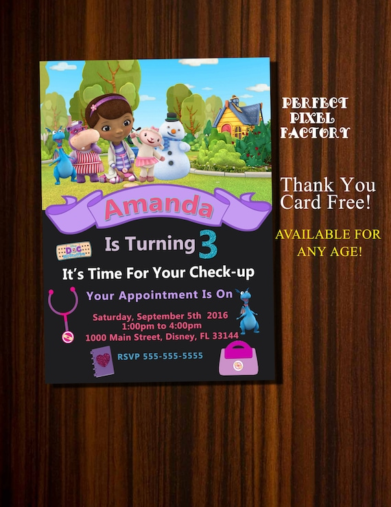 Doc McStuffins Invitation Birthday Disney Junior Party McStufins Invite Invitations