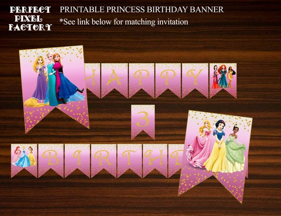 Princesses Birthday Banner Pink Princess Banner Gold
