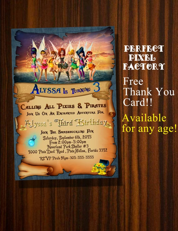 Tinkerbell InvitationPirate Fairy InvitationTinkerbell BirthdayTinkerbell Printable InvitationsDisney Fairies Invitation
