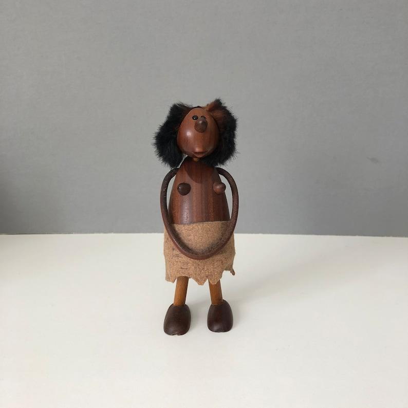 RARE  Chris Vejle Denmark Teak figure Prehistoric CAVE WOMAN image 0