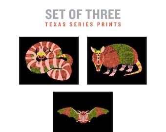 Set of 3 prints, Set of 3 prints wall art, Set of 3 prints animal, Southwestern art, Southwestern decor, Armadillo, Snake, bat, Southwest