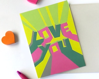 Love you card, Valentine love card, I love you gifts, Love you card for him, Love card for boyfriend, Love card for her, Modern card