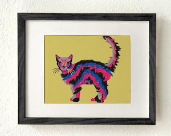 Cat lover gift, Cat lover art, Cat lover decor, Best cat lover gift, cat lover gifts women, Cat art print, Modern cat art, Halloween cat
