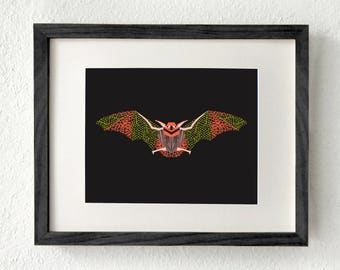 Bat art, Bat art print, Bat wall art, Bat gifts, Bat decor, Bat home decor, Bat print, Bat wall decor, Southwestern art, Bat animal, Austin