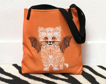 Halloween tote bag, Halloween tote, Cat tote bag, Halloween bag, Cat shopping bag, Trick-or-treat bag cat, Halloween cat bag, Cat bag, Tote
