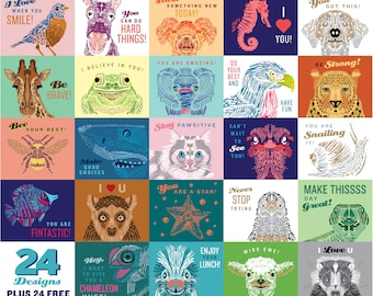 Lunch cards, Lunch notes, Lunchbox note cards, Lunch box cards, Lunch box notes, Kids lunch notes, Notes for kids, School notes, Set of 24
