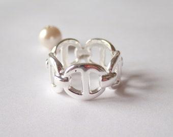 Navy mesh ring in 925 sterling silver