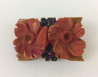 Vintage Floral Flower Resin Brooch