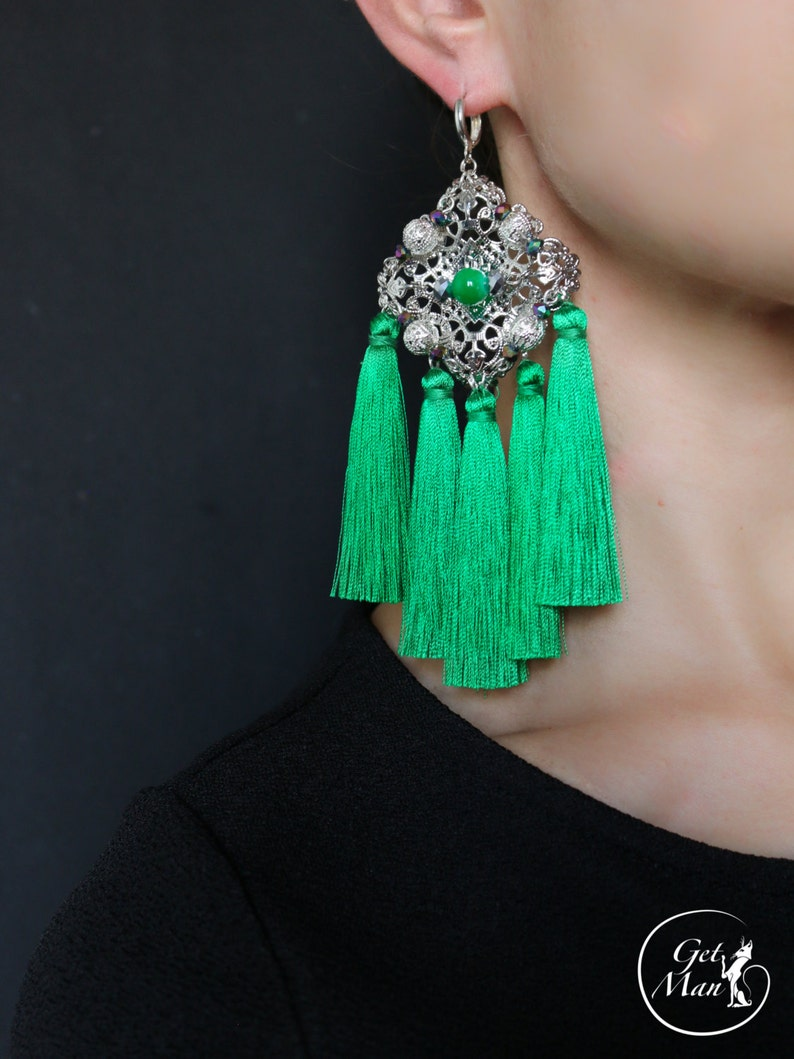 88806a16e Emerald Tassel Earrings Zoya Chandelier Earrings | Etsy