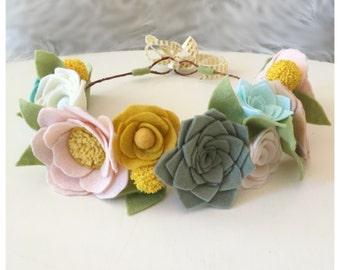 SUCCULENT CROWN // Felt Flower Crown // Woodland Crown // Fairy Crown // Floral Crown // Flower Girl // Seafoam + Mint + Mustard