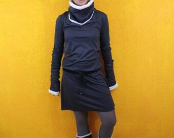 Set Short dress boots dress shawl cuffs fur Teddy Jersey Dress Shirt Dress Fall / Winter Hipdress langarm