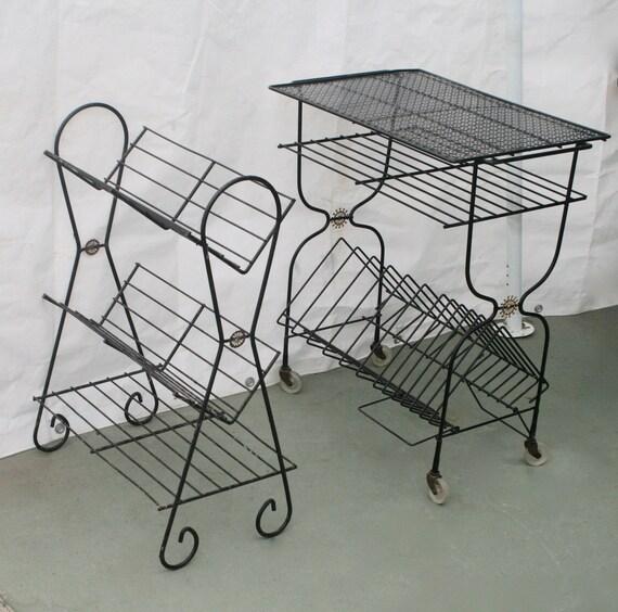 Terrific 1950S Mid Century Modern Wire 3 Tier Record Book Shelf Starburst Evergreenethics Interior Chair Design Evergreenethicsorg