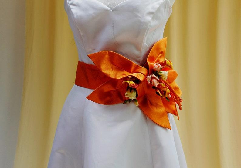 Astonishing Wedding Dress Waist Sash in Bright Shiny Orange  image 0