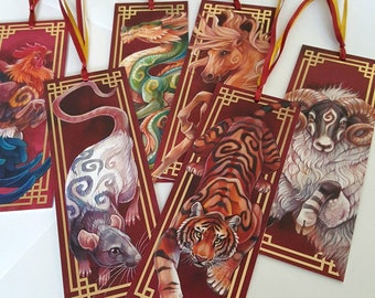 Chinese zodiac bookmark with ribbon and gold foil: year of the rat, ox, tiger, rabbit, dragon, snake, horse, ram, monkey, rooster, dog, pig