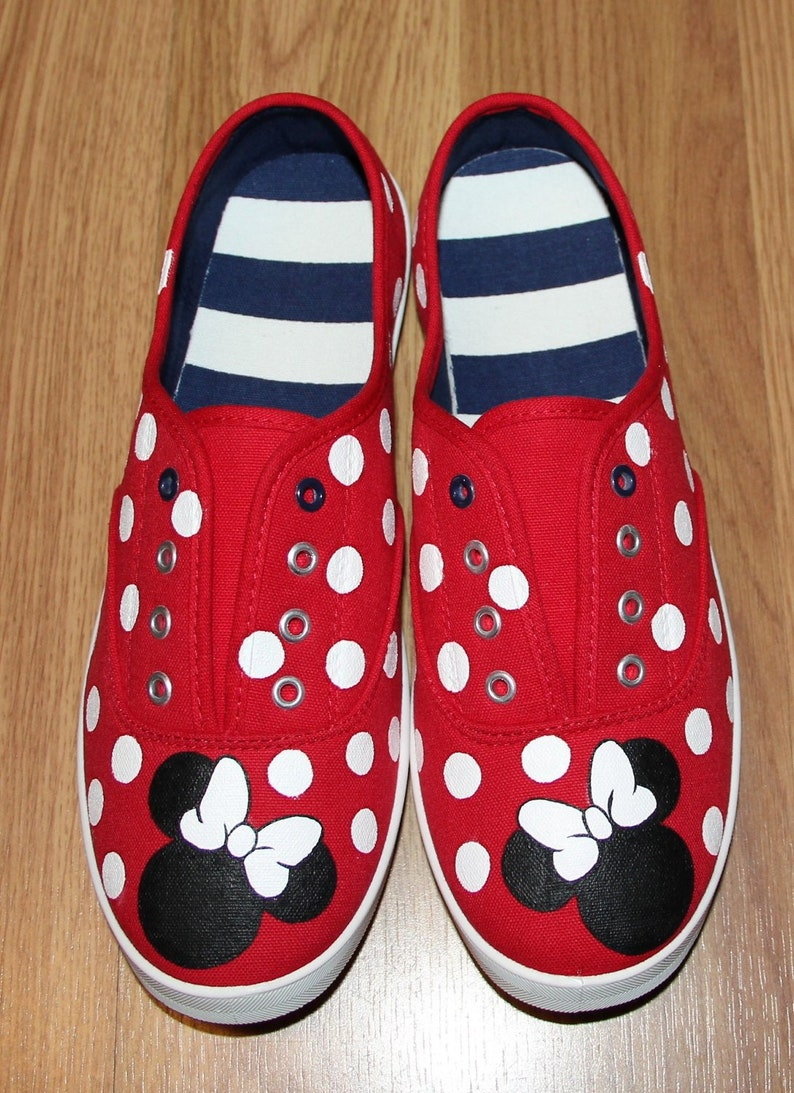 65420be243c4 Minnie Mouse heads bow Red Polka Dot Personalized name lace up