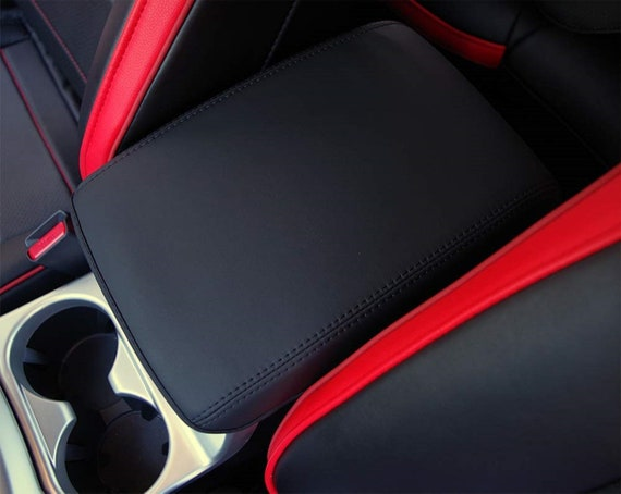 RED STITCH ARMREST COVER FITS MAZDA 6 2012-2017 BLACK REAL LEATHER