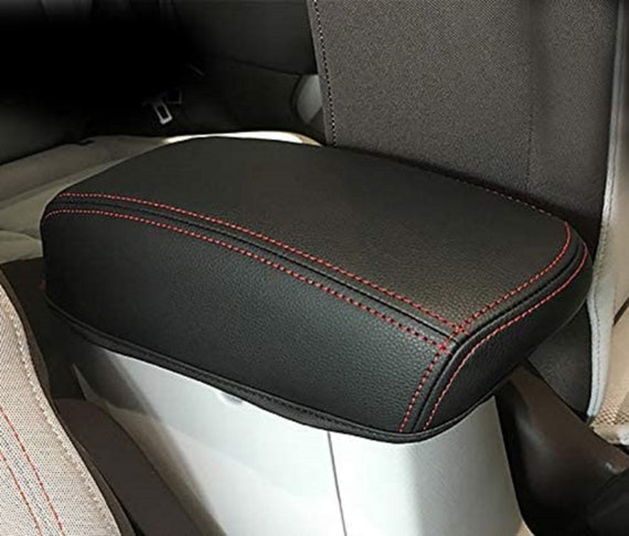 Central Arm Rest Black Faux Leather Red Stitching with Storage Compartment