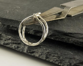 Hoop earrings, sterling silver, smooth hammered, size of your choice