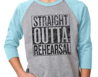 Straight Outta Rehearsal Musical Kids TShirt, Unisex for Girls or Boys, Theatre Geek, Christmas Gift for Performer, Gift for Dancer