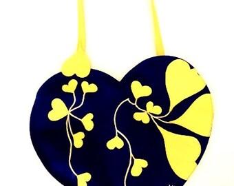 """Blue Handbag with yellow hearts - """"Xiva"""""""