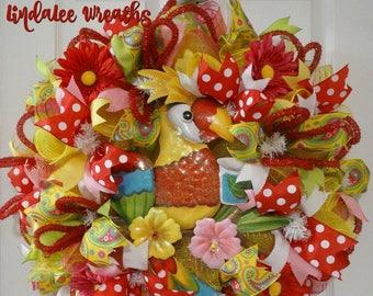 Deco Mesh Springtime Wreath, Parrot-dise Wreath, Home Decor, Front Door Decor, Door Wreath, Deco Mesh Summertime Wreath