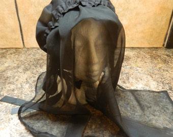 Girls/Ladies Victorian/Edwardian, Woman in Black, Mourner, Halloween Bonnet