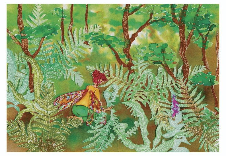 Art print A5 : children's illustration forest fairy image 0