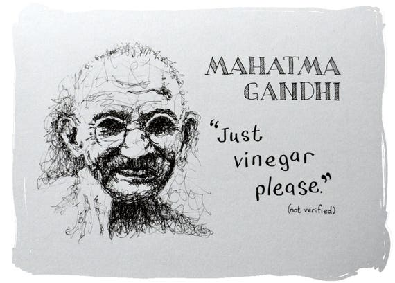 Original Mahatma Gandhi Funny Quotation Drawing Etsy