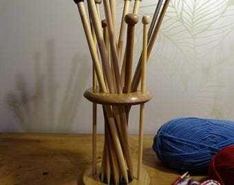 Wooden knitting needle stand