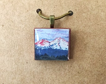 Mt. Shasta Painting Pendant on an Upcycled Vintage Scrabble Tile w/ Chain