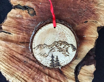 Mt. Shasta Wood Slice Ornament