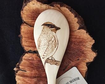 Cedar Waxwing Hand-burned Wooden Kitchen Spoon