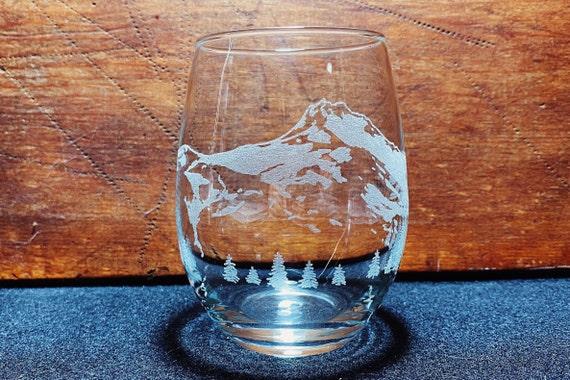McLoughlin Mt Engraved Crystal Stemless Wine Glass Oregon Cascades
