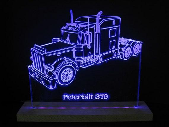 Led Lights For Semi Trucks >> Peterbilt 379 Semi Truck Edge Lit Led Acrylic Light Up Sign Desk Model Night Light