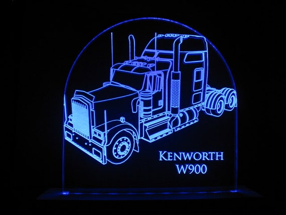 Kenworth W900 Semi Truck Edge Lit LED Acrylic Light Up Sign Desk Model  Night Light