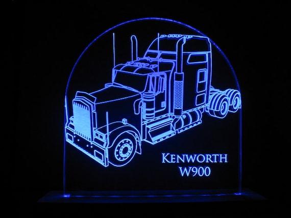 Led Lights For Semi Trucks >> Kenworth W900 Semi Truck Edge Lit Led Acrylic Light Up Sign Desk Model Night Light