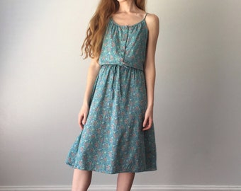 Vintage 1970s Midi Dress / Scoop Neck Floral Print / 70s Dress / Full Skirt / Spaghetti Strap / Turquoise / Size S Small