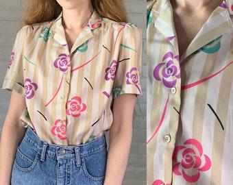 Vintage 1980\u2019s Beaded Blouse Size Large