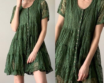 b1b5cdd9d4 Vintage 1990s Dress   Sheer Lace Olive Green Button Front Boho Mini dress    Starina 90s Mini Dress   Size Small Medium
