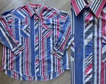 80/'s striped western snap shirt  vintage by Karman  men/'s XL