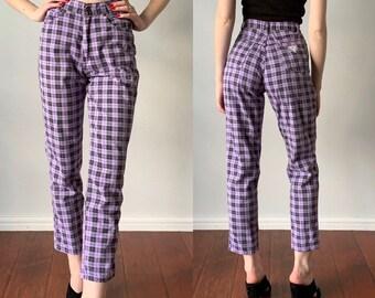 104c017c91 Vintage 1980s Pants / Grunge Purple Plaid High Waist Cropped Ankle Pants / 90s  Plaid Pants / Size XS 24 inch Waist