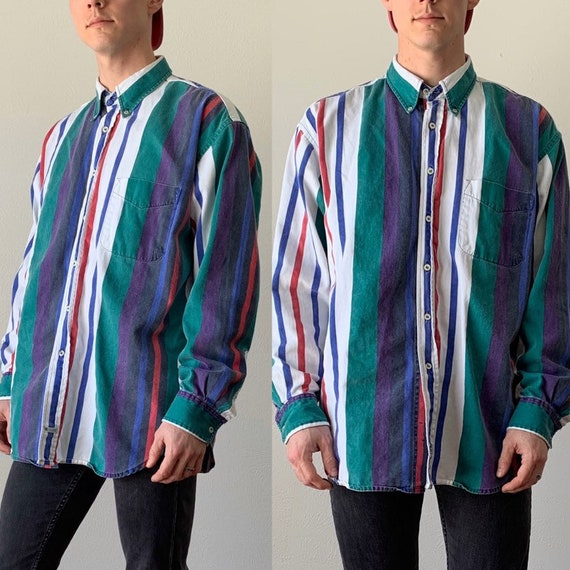 Vintage 1990s Shirt  Geometric Print Squiggle Button Front 90s Top  Collared Short Sleeve 90s Oxford Blouse  Size Large